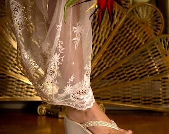 Wedding Sandals, Bridal Classic 3 1/4 inch Sandal, Wedding Pearl Sandals, Bridal Sandals, Diamond White, Comfortable Sandals, Pink2Blue