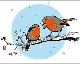CARD Christmas Robins