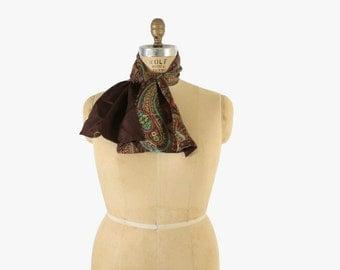 Vintage 40s SCARF / 1940s Reversible Brown & Paisley Ascot
