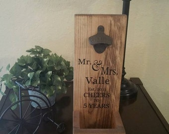 Rustic Wall Mount Bottle Opener and Cap Catcher - Personalized Hunter Anniversary Wood Gift for Him