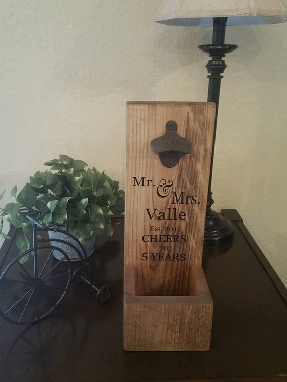 Rustic Wall Mount Bottle Opener And Cap Catcher Personalized