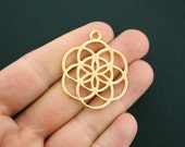 2 Seed of Life Pendant Charms Antique Gold Tone - GC786 NEW4