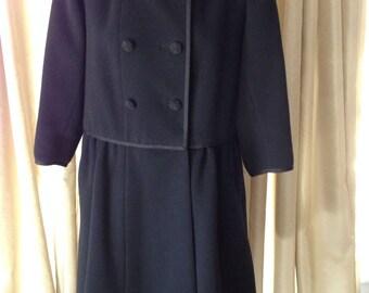 Norman Norell Black Wool Coat