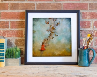 Butterfly Print, Girl Releasing Butterflies, titled Made New, Limited Edition Paper Print