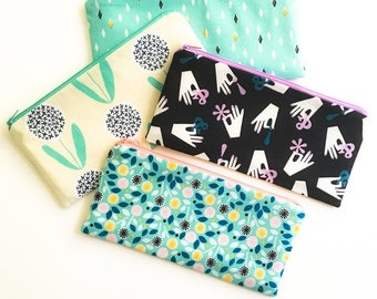 Zipper Pouch, Cosmetic Bag, Modern Nature Gift for Her, Pencil Case, Pencil Pouch, Flowers, Aqua, Black, Ampersand, Organizer, Teens, Women