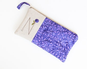 Monogram Clutch, Personalized Gift for Women, Navy Purple Monogram Bag, Zipper Pouch Letter N Gift under 50 READY TO SHIP by MamaBleuDesigns
