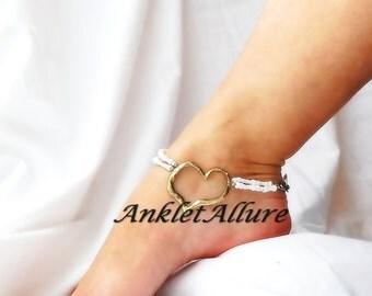 Heart Of Gold Anklet Heart Ankle Bracelet Beach Wedding Body Jewelry Ankle Bracelet Bridal Anklet Garter Ceremony Body Jewelry
