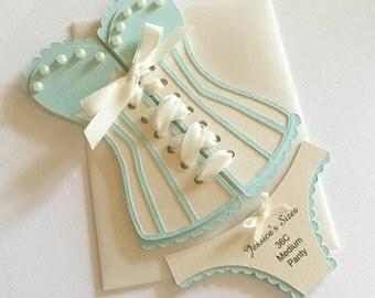 Bridal Shower Invitations - Corset invitation, lingerie shower - soft aqua and ecru - set of 12