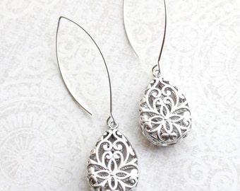 Long Silver Filigree Earrings Teardrop Filigree Dangles Wedding Jewelry Bridesmaid Gift Silver Rhodium Lace Modern Pear Drop Nickel Free