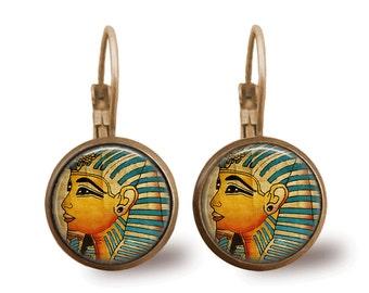 Tile Earrings Pharoah Earrings Egyptian Jewelry Brass Earrings Brass Jewelry Tile Jewelry Beaded Jewelry Silver Earrings Silver Jewelry