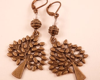 Tree Earrings Brass Earrings Beaded Earrings Beaded Jewelry Crystal Jewelry Tree Jewelry Brass Jewelry Nature Jewelry Dangle Earrings