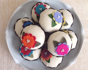 Felt Flower Cupcake (Surprise Color Choice) - Home Decor, Parties, Bridal Showers, Gifts, Pin Cushion, Birthdays, Easter Baskets, Spring