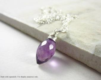 Purple Amethyst Gemstone - Sterling Silver Charms - Natural Gemstone Pendant - Genuine Amethyst Pendant - February Birthstone Jewelry