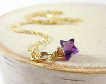 Purple Amethyst Pendant - Gemstone Star Necklace Charms - Twinkle Twinkle Little Star - Wire Wrapped Pendant - February Birthstone Charm