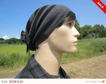 Sale -  Lightweight Slouchy Beanie Black Gray Striped Leather Tie Back Men's Cotton Knit Hat A1497