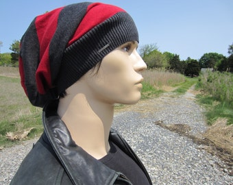 Slouch Back Beanie Hat Men's Striped Red Gray Wide Stripe Slouchy Beanie  Cotton Knit Hat by VACATIONHOUSE A1457-G