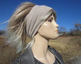 CASHMERE Headband  Wide Knit Tube Hats Head Ear Warmer Oatmeal Tan 100% Cashmere Hair Band A1122