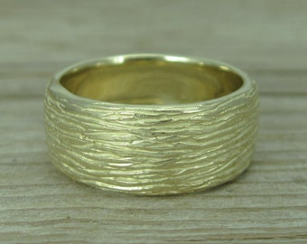 wedding ring, Twig Ring, yellow Gold Ring, unisex ring, 8mm wedding band, thick wedding band, antique, bark ring, wood ring, rough, wide