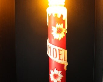 Vintage Empire Candle Light Up Blow Mold Noel Poinsettia Holly Leaves Large Christmas Holiday Indoor Outdoor Yard Decor