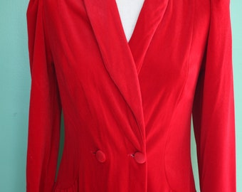 Vintage Robe Dressing Gown Lounge Wear Red Velveteen Miss Elaine Long