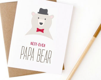 Father's Day Card | Best Ever Papa Bear Greeting Card | Card for Dad