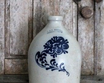 1800's J & E Norton 1 Gallon Jug - Salt Glaze - Stoneware - Cobalt Blue - Bennington VT
