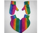 Rainbow Heart Shaped Lovers Mitten and Mitten Set Snuggle Down For Warm Romantic Walks