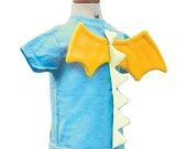 Dragon Shirt - size 6T - Aqua Light Blue T-Shirt with White Dragon Spikes and Yellow Wings
