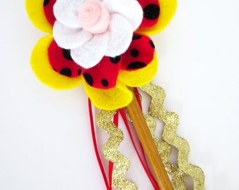 Magic Wand / Red and Yellow Polka Dot / Kids Costume Accessories