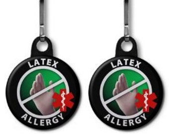 LATEX ALLERGY Medical Alert 2-Pack of Zipper Pull Charms (Choose Size and Color of Backing)
