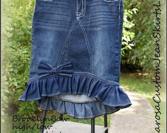 """DELAROSA """"Brooklyn Bow"""" High Low Denim Ruffle Skirt size 0 2 4 6 8 10 12 14 16 18 20 22 24"""