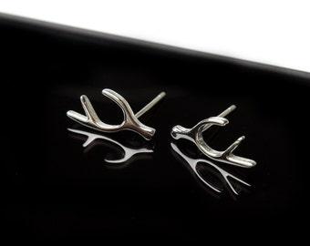 Sterling Silver 925 Stud Antler Earrings Tiny Sterling Silver Stud Earrings