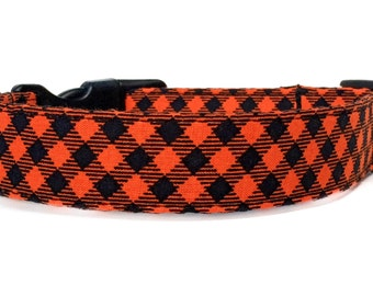 Orange Plaid Dog Collar / Black Orange Dog Collar / Plaid Dog Collar / Fall Dog Collar / Adjustable Dog Collar / Argyle Dog Collar