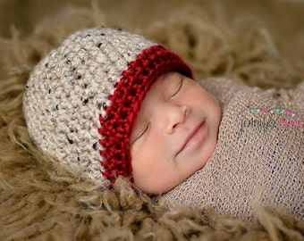 Crochet Baby Boy Beanie - Newborn to Adult - Oats and Autumn Red - MADE TO ORDER