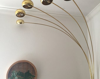 vintage mid century modern brass arc orb floor lamp / spider pod lamp / light settings