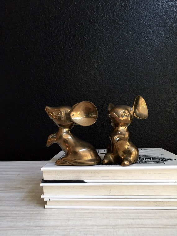 pair of silid brass large ear mice figurine / mouse / set