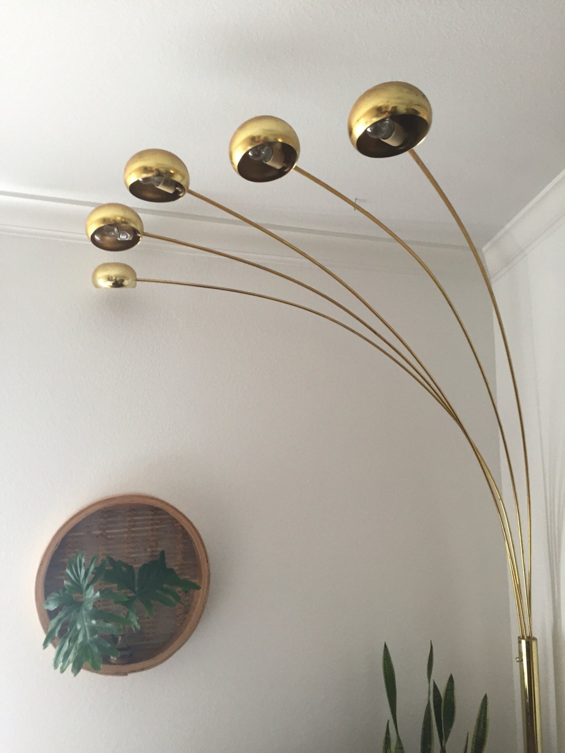 vintage mid century modern brass arc orb floor lamp spider. Black Bedroom Furniture Sets. Home Design Ideas