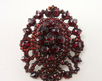 Antique Rose Cut Bohemian Garnet Brooch Layered Dark Red Garnets