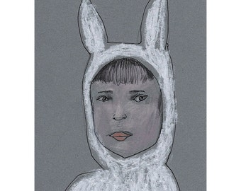 Child portrait bunny hat drawing original art people figurative rabbit costume small