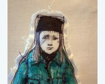 art doll teenager Rachel Real People handmade original fabric textile soft sculpture home decor OOAK souvenir gift