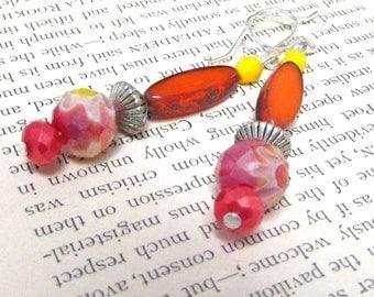 Fun Summer Earrings. Colorful Dangle Earrings. Orange, Red and Yellow Earrings. Handmade. Hello Jello