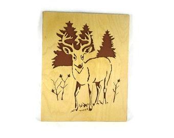Whitetail Deer / Buck Scroll Saw Wall Art Decor Handmade From 8 x 10 Birch Craft Plywood