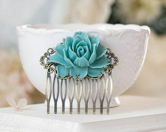 Dusky Blue Wedding Bridal Hair Comb, Bridesmaid Hair Accessory, Powder Blue Dusky Dusty Blue Rose Flower Antiqued Brass Filigree Hair Comb