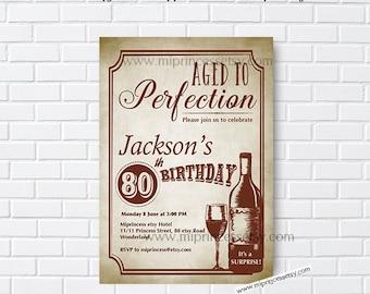 wine invitation, Wine birthday invitation, Aged to Perfection,  30th 40th 50th 60th 70th 80th 90th Retro birthday party invite - card 525