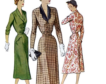 McCall 8282 Vintage 50s Sewing Pattern for Women's and Misses' Dress - Uncut - Size 40 Bust 40