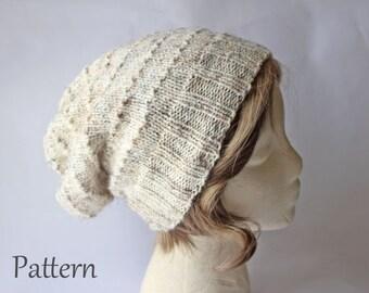 Knitting Pattern, Urban Slouch Knit Beanie Hat Pattern, Slouchy Hat Pattern, Beanie Pattern, Slouchy Beanie Pattern, Hand Knit Hat Pattern