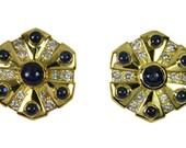 Breathtaking! 2.60tcw Sapphire Cacbochon & Diamond Disc Earrings 18K