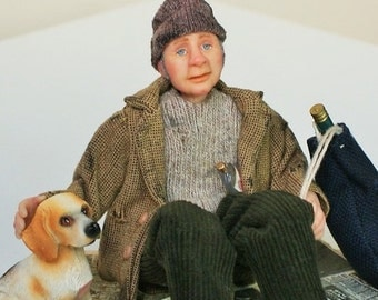 Eddie the homeless man, tramp, handsculpted miniature dollhouse doll in 1/12th, one inch scale, ooak