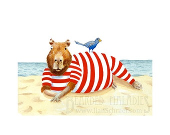 """Capybara on the Beach, 8""""x10"""", art print, watercolor, anthropomorphic, vintage, pin up, guinea pig, rodent, bathing suit, 1920s, bird"""