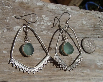 Boho Chic Aqua Sea Glass Sterling Earrings (S15)